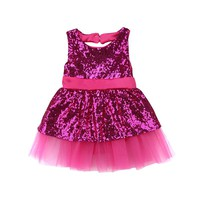 Sequins Newborn Toddler Kids Baby Girl Dress Sleeveless Back Hole Bow Ball Gown Tutu Formal Pageant Princess Party Dresses
