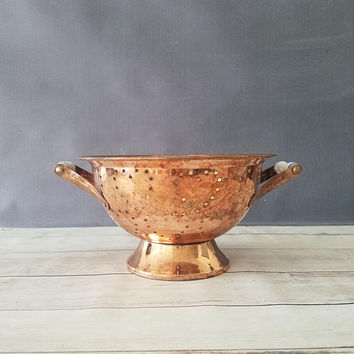 Copper Tone Colander with Ceramic Handles/ Copper Colander/ Country Kitchen Decor/ Rustic Copper/ Farmhouse Decor/ French Country/ Rustic
