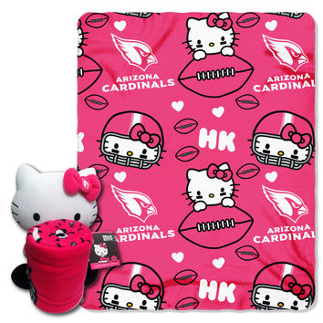 Cardinals  40x50 Fleece Throw and Hello Kitty Character Pillow Set