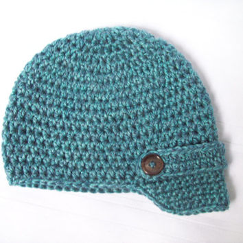 Crochet Baby Newsboy Hat, Blue Green Baby Newsboy Hat, Newborn Hat, 0 to 3 Months