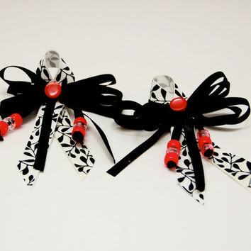Black, White, and Pink Vintage Button & Ribbon Hair Bows