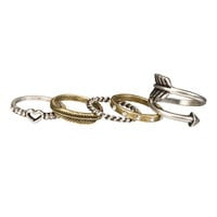 Midi Heart And Arrow Ring Set - Mixed Metal