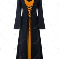 Plus Size Lace Up Hooded Maxi Dress
