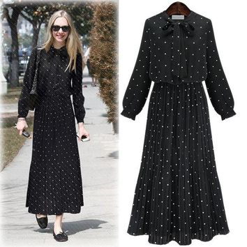 DCKL9 Chiffon Summer Long Sleeve Women's Fashion Slim Pleated Bohemia Prom Dress One Piece Dress [178783354906]