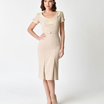 Stop Staring! 1930s Tan & Ivory Polka Dot Lace Cap Sleeve Railene Dress