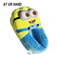 AT UR HAND Minions Indoor Slippers Plush Stuffed Funny Slippers Flock Cosplay House Shoes Adult Winter Home Slipper