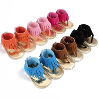 ROMIRUS Brand New Baby Boys Girls Fringe Soft Soled Pu Leather Summer Shoes Kids Crib Bebe Moccasin Flip Flop Thongs Walkers