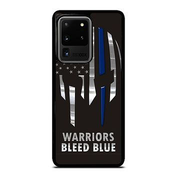 BLUE LINE POLICE WARRIOR SKULL Samsung Galaxy S20 Ultra Case Cover