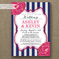 Fuchsia Navy & White Wedding Invitation Striped Hot Pink Linen Shabby Chic Ceremony Invite Printable Digital or Printed - Ashley Style