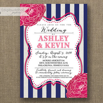 Fuchsia Navy White Wedding Invitation Striped Hot Pink Linen S