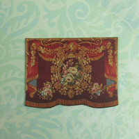 Dollhouse Miniature Red & Gold Floral Wall Hanging