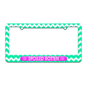 Spoiled Rotten - Diamonds Princess - License Plate Tag Frame - Teal Chevrons Design