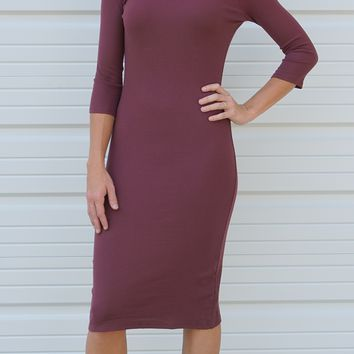 Ribbed Mock Turtleneck Midi Dress