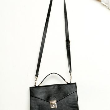 Black Faux-Leather Shoulder Bag - Brandy Melville