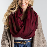 Gabby Red Plaid Circle Scarf