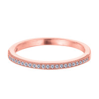 Sterling Silver Rose Tone Finish Milgrain Stackable Ring With Pave' Set Cz Stones