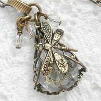 Crystal Dragonfly Small Filigree Wrapped by MorningGloryDesigns