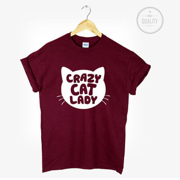 CRAZY CAT LADY t-shirt shirt tee unisex mens womens tumblr pinterest instagram hipster blogger cool cat *brand new