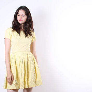 CYBER MONDAY SALE 50% Off 1950s Short Yellow Cotton Dress - 50s Cotton Dresses - 1950s  Short Dress - The Sara Dress - 6046