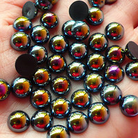 8mm AB BLACK Half Pearl Cabochons / Round Flat Back Faux Pearlized Cabochons (around 80 pcs) PEAB-K8