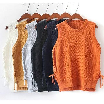 DCCKJ1A Hedging new winter lace stitching round neck knit sweater vest vest female