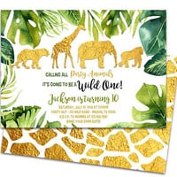 Gold Safari Invitations - Safari 1st Birthday Invitation - Safari Party - Jungle Birthday - Party Animal Invites - Boy 1st Gold Jungle