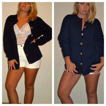 90s Cable Knit Button Down Cardigan Slouch Sweater w/ Gold Buttons