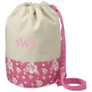 Monogrammed Beach Tote Canvas Duffel Bag Pink Floral Print