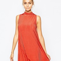 Boohoo High Neck Ribbed Swing Dress