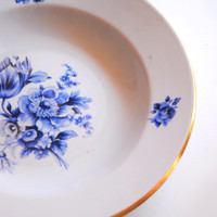 Vintage Kahla Soup Bowls W/ Blue Onion Floral Pattern & Golden Edge, Set of 4 Deep Plates