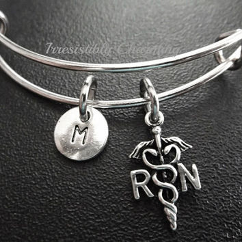 Sale....Nurse, Silver plated Expandable Bangle, monogram personalized custom gifts under 10 choose your own initial style item No.659