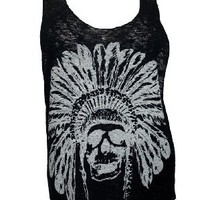 eVogues Plus Size Skull Print Knit Tank Top White
