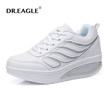 DR.EAGLE Women's Sneakers Platform toning Wedge Light weight zapatillas sports shoes for women Swing Shoes Breathable Slimming