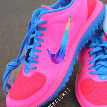 Neon Pink Nike Running Shoes With Customised Glitter Tick