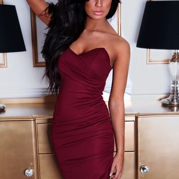 Jezebel Wine Red Ruched Side Midi Dress | Pink Boutique
