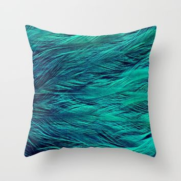 Teal Feathers Throw Pillow by SimplyChic