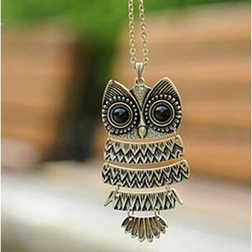 Retro Jewelry Vintage Ancient Bronze Big Eyes Owl Necklace Kitty Cat Pendant Statement Long Chain Choker Gift