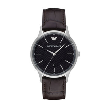 ARMANI WATCH TEXTURED DIALS MEN DRESS LEATHER RENATO STAINLESS STEEL AR2480