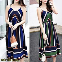 Hot-selling chiffon dress with slim waist, V-necktie and suspender skirt colliding with color stripes for holiday beach dress Only one piece