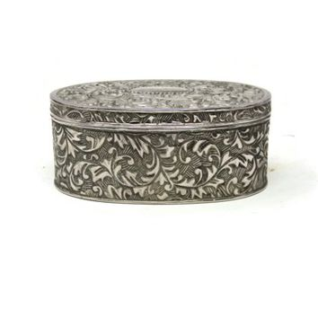 Silver Plated OVAL Jewellery Box Vintage Jewelry Box 1970s Jewellery Box Trinket Box Romantic Boudoir Gift for Her ACANTHUS LEAF Design