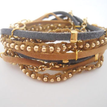 Blue and Brown Suede cord, Brown Cotton Cord Macrame and A Pea Gold Plated Chain - 3X Wrap Bracelet