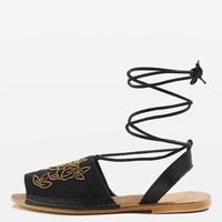 HALLE Embroidered Sandals - Sandals - Shoes