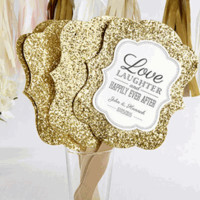 Personalized Gold Glitter Hand Fans (Set of 12)