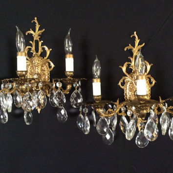 Vintage Pair Brass Crystal Candelabra Wall Sconces 3 Arm Spain 1