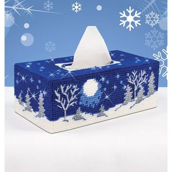 "Starry Night (7 Count) Mary Maxim Plastic Canvas Tissue Box Kit 4.5""X9""X3.5"""
