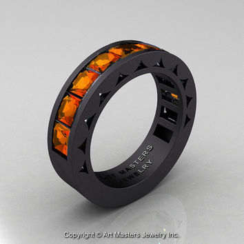 Mens Modern 14K Matte Black Gold Princess Orange Sapphire Channel Cluster Sun Wedding Ring R274-14MBGOS