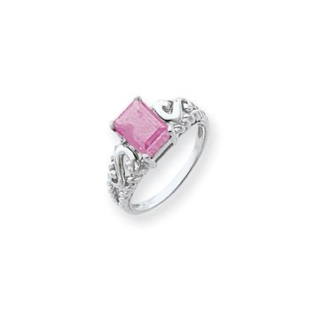 14k White Gold 8x6mm Emerald Cut Pink Tourmaline Ring