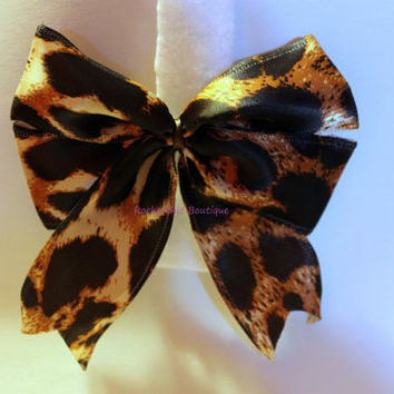 Satin Leopard Hair Bow (tails down) - Retro, Big Bow, rocker chic, pin up, old hollywood, glam rock, rockabilly