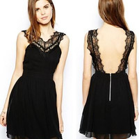 2015 African Swiss Voile Lace Dress Black Dress Fashion Womens Assassins V Neck and Sleeveless Dress with Lace Sexy Backless and Slim Dress