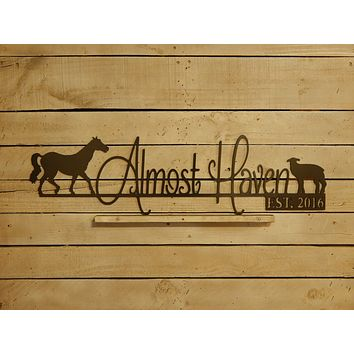 Farm Sign with Horse & Lamb and Established Date